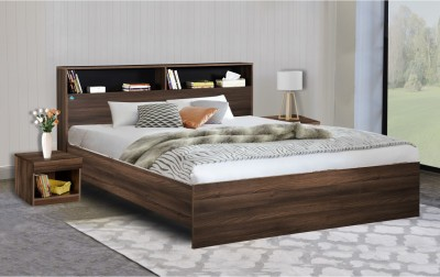 Delite Kom Urban Engineered Wood Queen Bed(Finish Color -  Acacia Dark & Black)