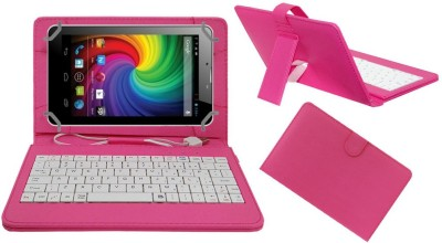 ACM Keyboard Case for Micromax Funbook Mini P410(Pink, Cases with Holder)