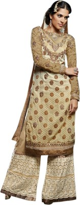 Saara Net Embroidered Semi-stitched Salwar Suit Dupatta Material