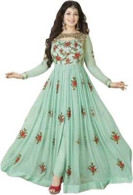 Viha Embroidered Semi Stitched Lehenga, Choli and Dupatta Set(Blue)