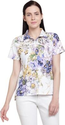 Tunic Nation Casual Half Sleeve Floral Print Women Multicolor Top
