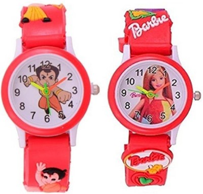 perfectretail new passion for kids pack of 2 red chota bheem+red barbie for kids with the best deal and fast selling watch-for boys and girls Watch  - For Boys & Girls  available at flipkart for Rs.220