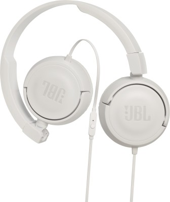 JBL T450 Wired Headset with Mic(White, On the Ear)