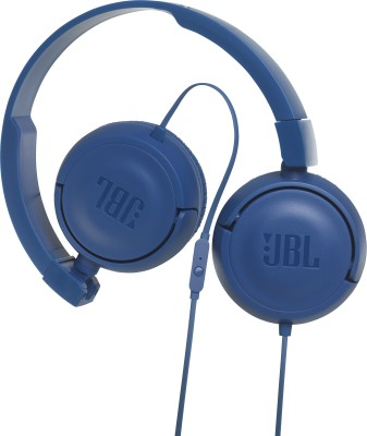 JBL T450 BLUE Wired Headset with Mic(Blue, On the Ear)