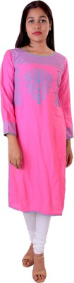Awesome Women Textured, Printed Straight Kurta(Pink, Blue)