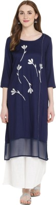 Rangmanch by Pantaloons Women Printed Flared Kurta(Blue)