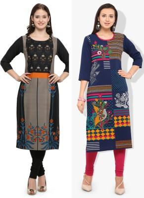 Envy 9 Casual Printed Women Kurti(Pack of 2, Multicolor)