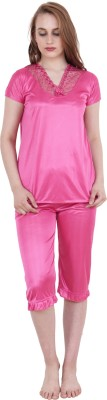 Kanika Women Self Design Pink Top & Capri Set