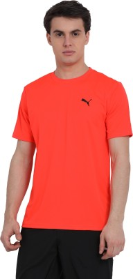 Puma Solid Men Round Neck Orange T-Shirt