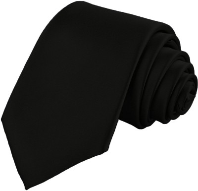 Hind Home Classy outfit for Formals and Party Black Solid Men Tie