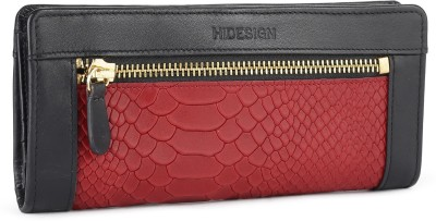 Hidesign Women Casual Red, Black Genuine Leather Wallet(14 Card Slots)