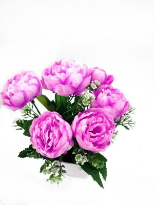 Babbar Traders Artificial Polyester and Plastic Light Pink Ranunculus  Flower With White Cristal Pot For Indoor And Outdoor Decoration Of Your  Office