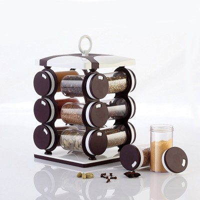 Flipkart SmartBuy Revolving Spice Rack, Masala Box, Spice Box, Masala Rack, Trolley Rack  - 120 ml Plastic Spice Container(Pack of 12, Brown)