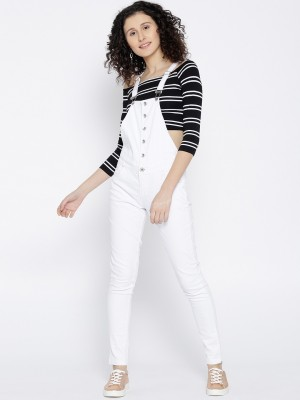 Xpose Women White Dungaree at flipkart