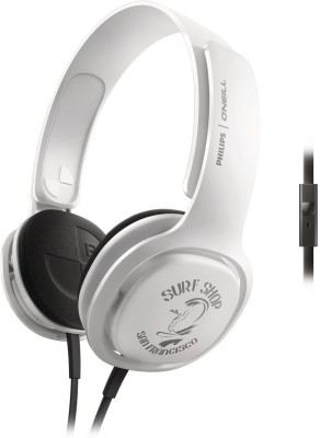 Philips SHO3305 Wired Headset with Mic(White, On the Ear)