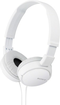 Sony ZX110A Wired Headset without Mic  (White, Wired over the head)
