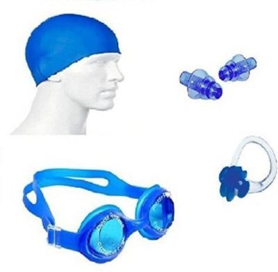 Kamni Sports Swimming Kit (Silicon Cap, Silicon Ear Plug, Swimming Nose Clip, Swimming Goggles) Swimming Kit Swimming Kit