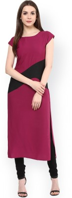 Fashionyari Women Solid, Self Design Straight Kurta(Black)