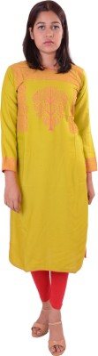 Awesome Women Embroidered A-line Kurta(Green)