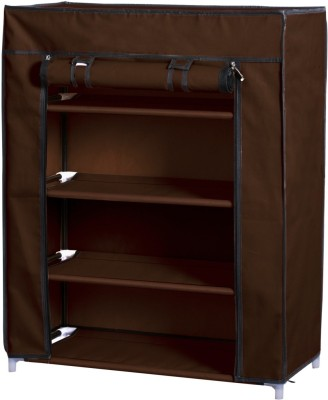 Pindia Polyester Collapsible Shoe Stand(Brown, 4 Shelves)