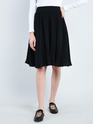 Bfly Solid Women Pleated Black Skirt