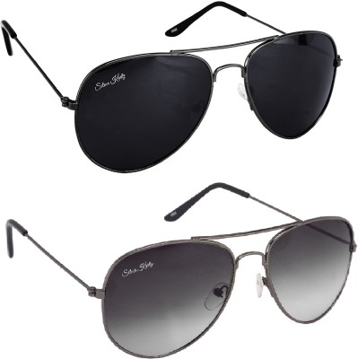 Silver Kartz Aviator Sunglasses(Black)
