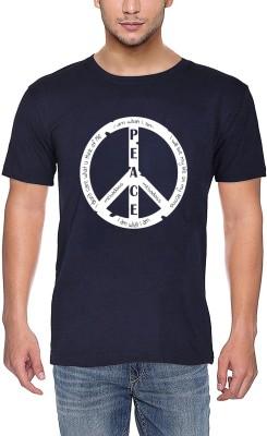mebadass Printed Men Round Neck Blue T-Shirt
