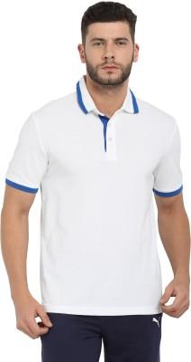 Puma Solid Men Polo Neck White T-Shirt
