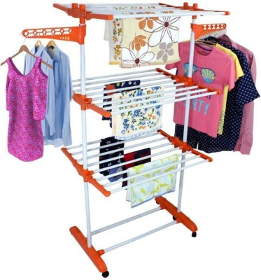 HOMEMATE Floor Mounted Clothe Drying Stand, Made Of Carbon Steel & High Quality Plastic (Orange) Carbon Steel Floor Cloth Dryer Stand(Orange)