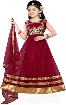 bf4a6fdf0 66% OFF on MF Retail Girl's Lehenga Choli Ethnic Wear Embroidered Lehenga,  Choli and Dupatta Set(Maroon, Pack of 1) on Flipkart | PaisaWapas.com