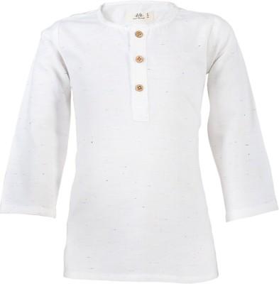 WYW Casual Self Design Girl's Kurti(White)