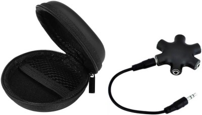 ReTrack SET OF 3PC 9Way 3.5mm Jack Multi Earphone Audio MP3 Hub with Mic Headphone Splitter(Black)