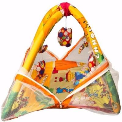 babique Cotton Kids BED CUM WITH MOSQUITO NET Mosquito Net (Chota Bheem) KIDS CRIB(COTTON, Yellow)