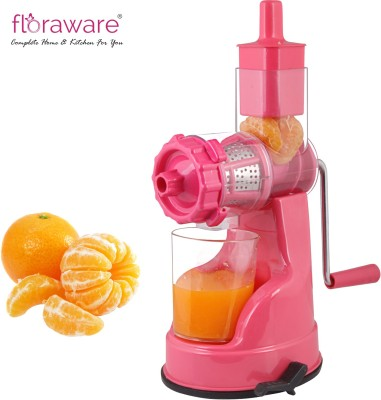 Floraware Plastic Hand Juicer Fruit & Vegetable Steel Handle with Vaccum Locking System, Pink(Pink Pack of 1)