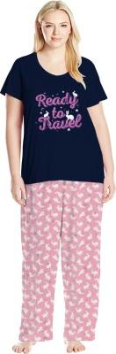 So Sweety Women Printed Dark Blue, Pink Top & Pyjama Set