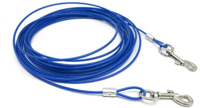 ROYAL PET Tie-Out Cable (15 FIT For Dogs Up To 60 LBS)   Tangle Resistant (EXTRA STRONG Swivel Snaps)   Weather Resistant Vinyl Coated-Aircraft Steel Cable   Durable & Long Lasting   15F cm Dog Cord Leash(Blue)