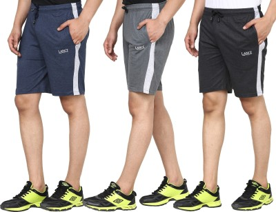 LANCE Solid Men Black, Grey, Blue Bermuda Shorts