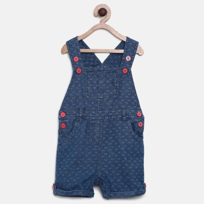 Mini Klub Dungaree For Girls Printed Cotton(Blue, Pack of 1)