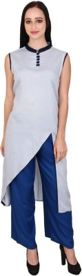 Avaana Women Solid Straight Kurta(Blue)