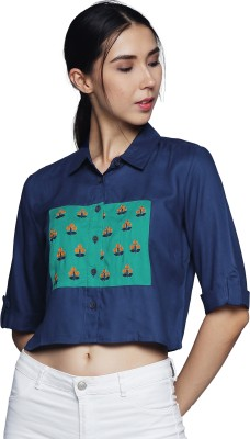 UNTUNG Women Embroidered, Printed Casual Blue, Green Shirt
