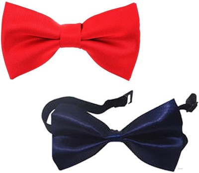 Qtsy Red And navy Blue Bow Solid Men Tie(Pack of 2) Flipkart