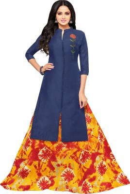 Mrinalika Fashion Chanderi Cotton Embroidered Semi-stitched Salwar Suit Dupatta Material