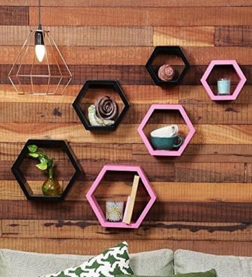 Collectible india Set of 6 Black & Pink Designer Hexagon Shape Mounted Shelves Rack Wall Storage Display Shelf Wooden Wall Shelf(Number of Shelves - 6, Pink)