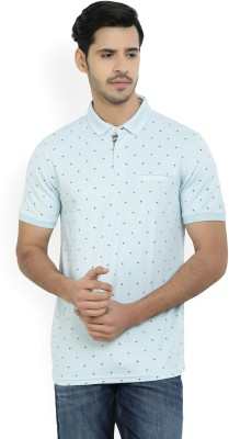 JG FORCEMAN Printed Men Polo Neck Light Blue, White T-Shirt