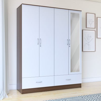 Perfect Homes by Flipkart Andes Engineered Wood 4 Door Wardrobe(Finish Color - Walnut, Mirror Included)