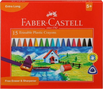 Faber-Castell 15 Erasable Plastic Crayons (110mm)(Assorted)