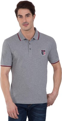 Jockey Color Block Men Polo Neck Grey T-Shirt