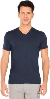 Jockey Solid Men V Neck Dark Blue T-Shirt