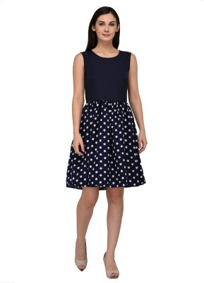 Vashist Women Fit and Flare Dark Blue Dress