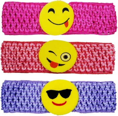 Netboys Crochet Cutwork Flower Baby Headband ( Pink , Peach , Purple ) 3 Pcs Set Hair Band(Multicolor)